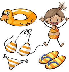 Girl in bikini and beach set vector