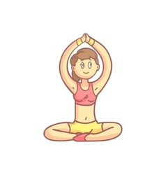 Girl In Meditation Yoga Pose vector image