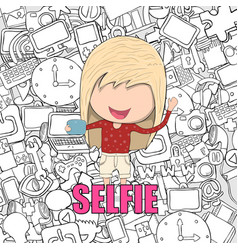Girl teens was selfie with phone happy with media vector