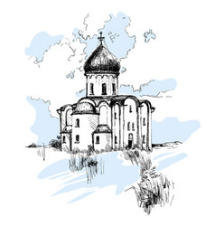Hand drawn russian church urban sketch vector