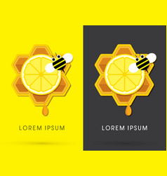 honey and lemon with bee on honeycomb vector image