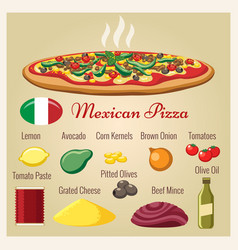 Mexican pizza ingredients vector