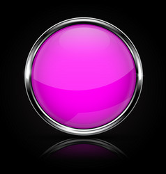 Purple glass button with chrome frame on black vector