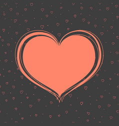 red heart on a dark background vector image vector image