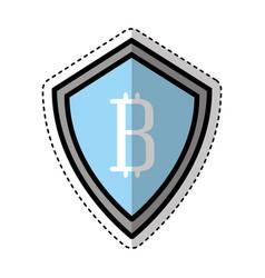 Shield with bitcoin icon vector