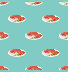 Smoke dried sausages seamless pattern dish meat vector