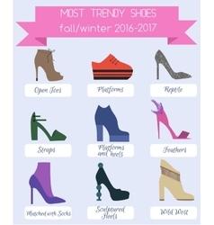 Trendy women shoes of fall winter season vector