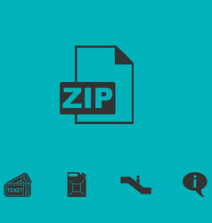 Zip file icon flat vector