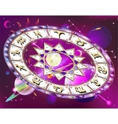 Zodiac circle in space vector image
