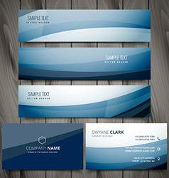 Blue business banners and cards design vector