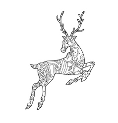 Coloring page with bohemian running deer isolated vector image