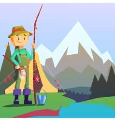 Fisherman camping with the mountain landscape on vector