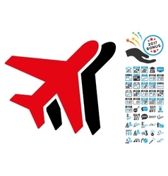 Airplanes icon with 2017 year bonus pictograms vector