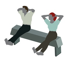 Man and woman silhouette in sitting on chair pose vector