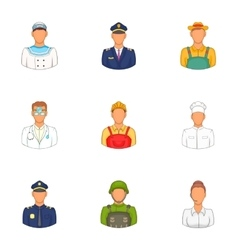 Occupation icons set cartoon style vector