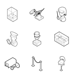 Going to museum icons set outline style vector