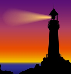 Lighthouse silhouette in sunset vector