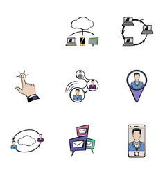 Chat icons set cartoon style vector