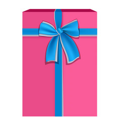 pink gift box with blue ribbon icon flat style vector image