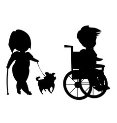 Silhouette of disabled people vector
