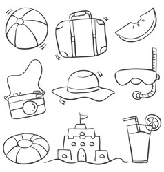 doodle of summer object hand draw vector image
