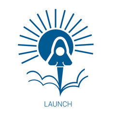 Launch blue flat icon vector