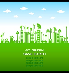 Go green earth or green city save earth concept vector