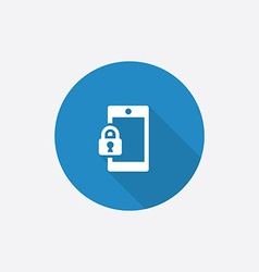Smartphone lock flat blue simple icon with long vector