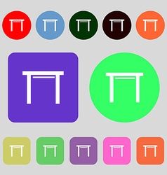Stool seat icon sign 12 colored buttons flat vector