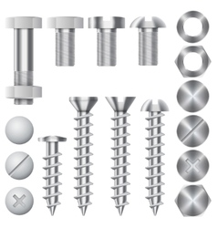 Construction hardware icons screws bolts vector