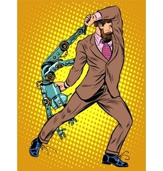 Cyclops businessman against a robot vector image