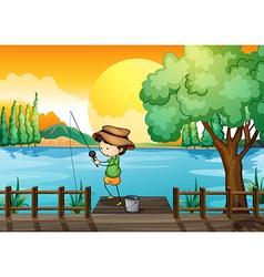 A man fishing vector