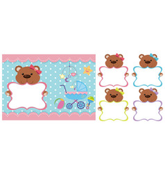 Background template with teddy bears vector