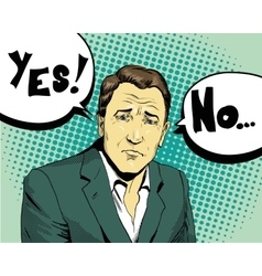 Businessman make choice yes or not retro comic vector