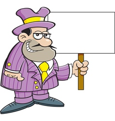Cartoon gangster holding a sign vector