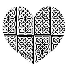 celtic style heart with eternity knot pattern vector image