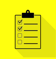 Checklist sign black icon with flat vector