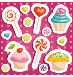 Cute candy stickers vector