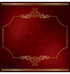 dark red card with gold decor vector image vector image