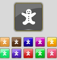 Gingerbread man icon sign set with eleven colored vector