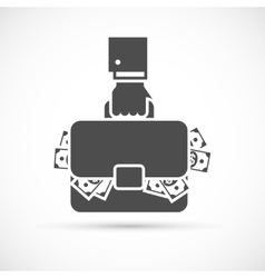 Holding briefcase with money vector image vector image