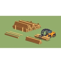 Log loader and the log piles vector