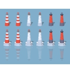 Low poly lighthouses vector image