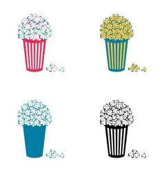 Popcorn icons vector image vector image