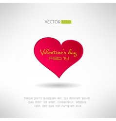 Red heart icon with valentines text and date on it vector
