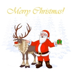 Santa claus and christmas reindeer rudolph on vector