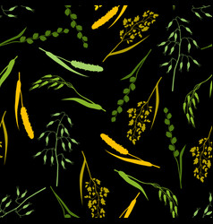 Seamless pattern with herbs and cereal grass vector