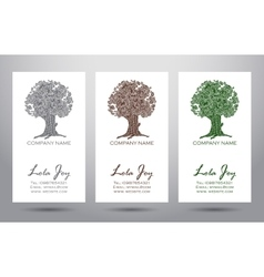 Set of business cards with logo elegant tree vector image vector image