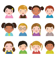 Set of different avatars of boys and girls vector image