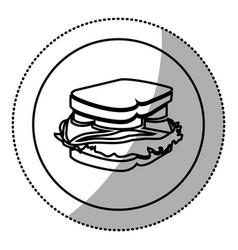 Silhouette emblem sticker sandwich icon vector